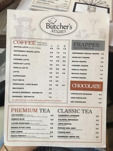 The Butcher's Kitchen Drink Menu