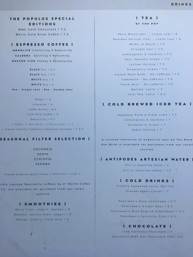 The Populus Cafe Drinks Menu