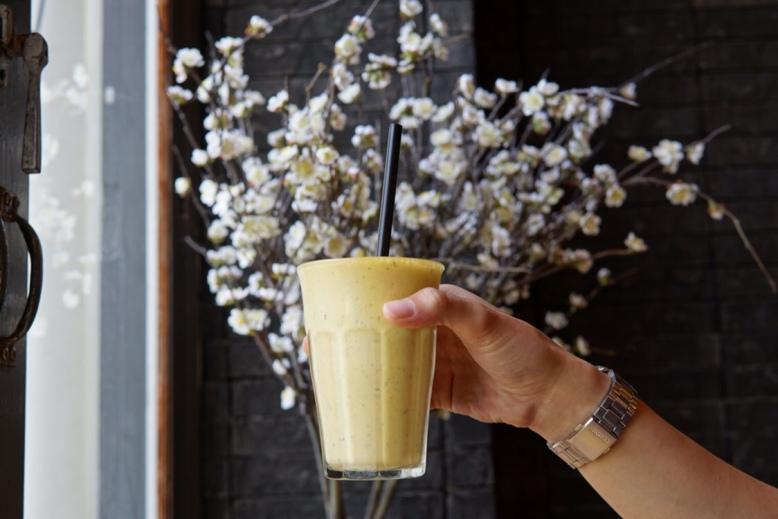 The Populus Cafe Mango + Yogurt + Fresh Mint Smoothie